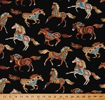 Cotton Southwestern Horses Animals Equestrian Southwest Black Cotton Fabric Print by the Yard (WEST-C5036)