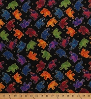 Cotton Elephants Whimsical Multi-Colored African Animals on Black Laurel Burch Mythical Jungle Gold Metallic Shimmer Kids Cotton Fabric Print by the Yard (Y2139-3MBLACKMETALLIC)