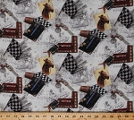 Cotton Horse Races Study Books Pens Checkered Flags Equestrian Cream Cotton Fabric Print by the Yard (AHZ-72509-84CREAM)