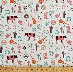 Cotton Western Cowgirl Cows Cactus Cacti Horseshoes Lassos Cowboy Boots Route 66 Not So Wild West Cream Cotton Fabric Print by the Yard (R37-9646-0126)