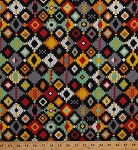 Cotton Southwest Southwestern Native American Aztec Pattern Geometric Black Journey Cotton Fabric Print by the Yard (bd-49201-a02)