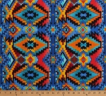 Cotton Southwestern Southwest Native American Aztec Tribal Diamonds Blue Cotton Fabric Print by the Yard (WEST-C6174-BRITE)