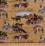 Cotton Lion Lioness Elephants Cheetahs Zebras Giraffes Sable Antelope Wildcats African Animals Plains Savannah Safari Landscape Scenic Nature Wildlife Cotton Fabric Print by the Yard (5015MULTI)