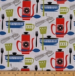 Cotton Kitchenette Cooking Baking Kitchen Utensils Stone Cotton Fabric Print by the Yard (CX6268-STON-D)