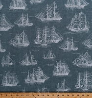 Cotton Tall Ships Diagrams Blueprints Sketches Boats Sailboats Schooners Barques Sailor Sailors Nautical Down by the Sea Slate Cotton Fabric Print by the Yard (AWP-16029-66-SLATE)