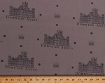 Cotton Highclere Castle Downton Abbey House Crowns English Castles England Britain Travel Polka Dots Gray Cotton Fabric Print by the Yard (a-7317-c)