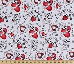 Cotton Dalmatians Dogs Puppies Puppy Love Hearts Phrases Words Paws Pawprints Animals Pets White Cute to Boot Cotton Fabric Print by the Yard (b-3m)