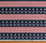 Cotton Anchors Nautical Stripes Sailing Sailors Ropes Sea Rigging Ocean Navy Blue Coral White Stay the Course (6 Parallel Stripes) Cotton Fabric Print by the Yard (DC5531-NAVY-D)