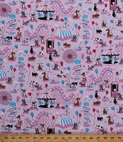 Cotton Pet Carnival Roller Coasters Carousels Merry-Go-Round Ferris Wheel Tents Balloons Dogs Animals Fair Amusement Park Kids Children's Fun Pink Cotton Fabric Print by the Yard (bd-49219-a01)