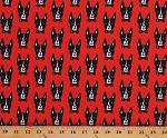 Cotton Boston Terriers Dogs Bow Ties Puppies Puppy Animals Pets Red Cotton Fabric Print by the Yard (AFK-17129-3RED)