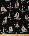 Cotton Lighthouses Sailboats Sailboat Boat Seagulls Birds Ocean Water Sea Lake Waves Lighthouse Point Nautical Naval Blue By the Sea Black Cotton Fabric Print by the Yard (04611-12)