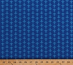Cotton Anchors Anchor Away Nautical Naval Seafaring Sailors Sailor Blue Seaside Holiday Cotton Fabric Print by the Yard (04126-55)