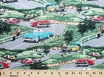 Cotton Vintage Car Cars Travel Automobiles Convertible on Scenic Road Cotton Fabric Print by the Yard (35352)