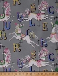Cotton Carousel Merry-Go-Round Ponies Fancy Horses Animals Letters Grey Pink Equestrian Kids Cotton Fabric Print by the Yard (154-grey-16)