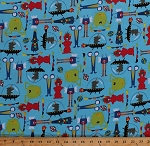 Cotton Aliens Spaceships Planets Stars Monsters Kids Children's Blue Cotton Fabric Print by the Yard (43231-1)