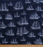 Cotton Tall Ships Sketches Blueprints Diagrams Sailboats Boats Sailing Schooners Brigantines Barques Down by the Sea Blue Nautical Maritime Cotton Fabric Print by the Yard (AWP-16029-9navy)