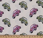 Cotton Love Bugs 1960's VW Volkswagen Volkswagon Beetles Cars Vehicles Cotton Fabric Print by the Yard (8650m-6m)