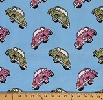 Cotton Love Bugs 1960's VW Beetles Cars Volkswagen Volkswagon Cotton Fabric Print by the Yard (8650m-6m-blue)