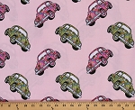 Cotton Love Bugs 1960's VW Beetles Volkswagen Volkswagon Cars on Pink Cotton Fabric Print by the Yard (8650m-6m-pink)