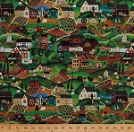 Cotton Amish Farms Farmhouses Village Rural Country Countryside Fields Rolling Hills Sunflowers Sheep Cows Folk Art Lancaster Scenic Cotton Fabric Print by the Yard (42655-x)