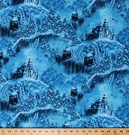 Cotton Winter Castles Snow Covered Castle Walls Forest Fantasy Snowy Night Christmas Artworks VI Blue Cotton Fabric Print by the Yard (1649-26244-B)