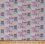 Cotton Sodalicious Cola Pops Sodas Drinks Flavors Words on White Cotton Fabric Print by the Yard (dc6875-cola-d)