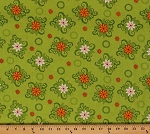 Cotton Mystic Forest Medallions Green Flowers Cotton Fabric Print by the Yard (112-25931)