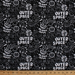 Cotton Sock Monkeys in Space Outer Space Bananas Rocket Ships Planets Shooting Stars Kids Children's Black and White Chalkboard Cotton Fabric Print by the Yard (41171)