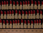 Cotton Red Lipstick Tubes Makeup Cosmetics Bouffants & Broken Hearts Gold Metallic Shimmer on Black Cotton Fabric Print by the Yard (AFKM-16247-3RED)