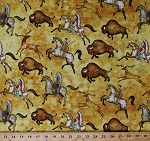 Cotton Bison Buffalo Horses Animals Native Americans Indians Southwestern Southwest Soul Bison Run Yellow Cotton Fabric Print by the Yard (1649-26637-S)