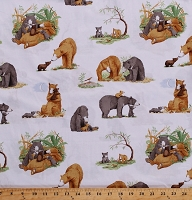 Cotton Bears Cute Bear Cubs Animals Family You're All My Favorites Kids Children's Book Scenes Mist Gray Cotton Fabric Print by the Yard (Y2457-116MISTGRAY)