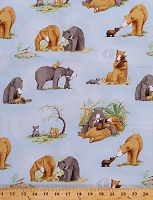 Cotton Bears Cute Bear Cubs Animals Family You're All My Favorites Kids Children's Book Scenes Light Sky Blue Cotton Fabric Print by the Yard (Y2457-97LIGHTSKY)