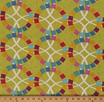 Cotton Quilt Blocks Metro Geometric Rings Circles Light Green Cotton Fabric Print by the Yard (13083-21)
