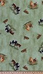 Cotton Horsin' Around Horses Horse in Pasture Mare Foal Filly Colt Cotton Fabric Print by the Yard (6917T-4L)