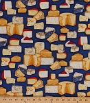 Cotton Cheese Blocks Foods Kiss the Cook Country Gourmet Cooking Chef Kitchen Navy Cotton Fabric Print by the Yard (AMK-15193-9-navy)