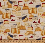 Cotton Cheese Blocks Foods Kiss the Cook Country Gourmet Cooking Chef Kitchen Beige Cotton Fabric Print by the Yard (AMK-15193-14-natural)