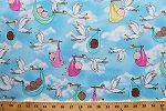 Cotton Storks with Babies Sky Clouds Cry Baby II Blue Kids Nursery Cotton Fabric Print by the Yard (04835-05)