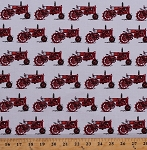 Cotton Red Tractors Tractor Farmers Farming Country Everyday Favorites on White Cotton Fabric Print by the Yard (AMK-16021-3-RED)