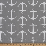 Anchors Sailor Gray Nautical Indoor/Outdoor Upholstery Fabric by the Yard (2153P-2N)