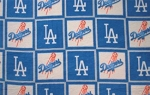 Fleece (not for masks) Los Angeles Dodgers Square MLB Baseball Fleece Fabric Print by the yard