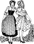 Folkwear Austrian Dirndl Dress #123 Renaissance Blouse Apron Skirt Bodice Sewing Pattern (Pattern Only) folkwear123