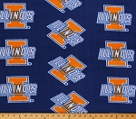 Fleece University of Illinois Fighting Illini College Fleece Fabric Print By the Yard - Blue
