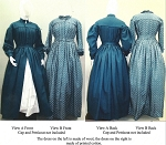 Pleated Wrapper Work Dress Morning Gown Maternity Dress Civil War Reproduction 1840's -1960's Laughing Moon Sewing Pattern #120 (Pattern Only) Lmm120