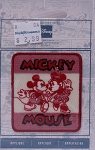 Wrights Mickey Minnie Mouse Iron On Applique Red White Badge Disney Appliques 2.25W x 2.5H inches (M211.01)
