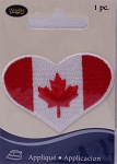 Wrights Heart Canada Canadian Maple Leaf Flag Iron On Applique Red White Badge Appliques 2.125W x 1.5H inches (M211.03)