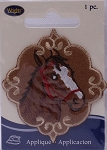 Wrights Horse Head Iron On Applique Badge Horses Equestrian Brown Appliques 2.25W x 2.5H inches (M211.04)