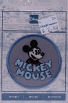 Wrights Mickey Mouse Iron On Applique Grey Blue Badge Disney Appliques 2.375W x 2.375H inches (M211.06)