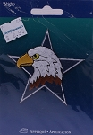 Wrights Eagle Head Star Iron On Applique Badge Birds Appliques 2.75W x 2.75H inches (M211.09)