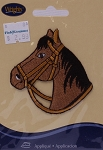 Wrights Horse Head Iron On Applique Brown Badge Equestrian Riding Appliques 2.75W x 2.75H inches (M211.10)