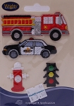 Wrights Rescue Emergency Vehicles Firetruck Police Cop Cars Iron On Applique Badge Appliques (M211.12)